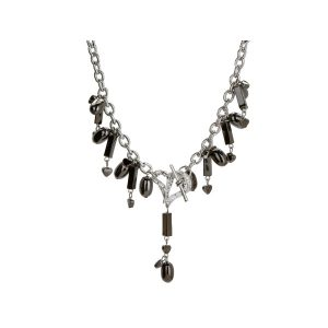 Comfy Plane's Michele Caruso Black Metallic Bead and Heart Necklace