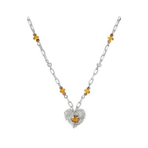 Comfy Plane's Silver Heart Necklace With Glass Beads
