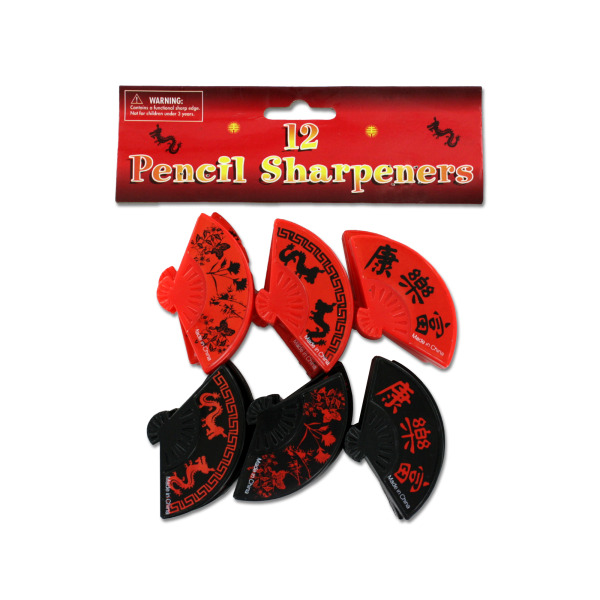 Chinese or Asian fan shaped pencil sharpeners, pack of 12   bulk buys