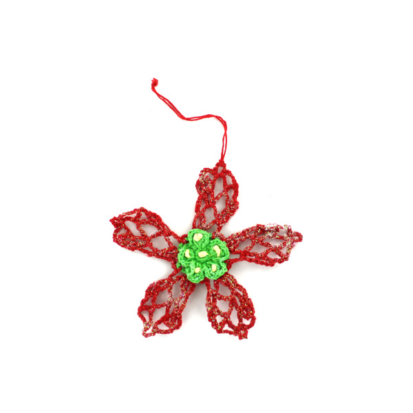Crochet poinsettia ornaments, pack of 12 | bulk buys