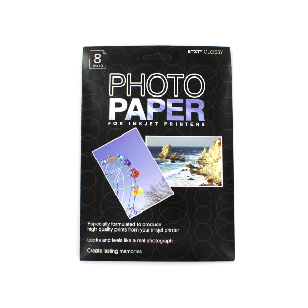 5 x 7 photo paper for inkjet printers, package of 8 sheets | bulk buys