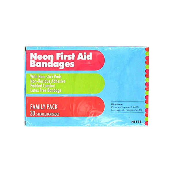 30 Neon first aid bandages | bulk buys