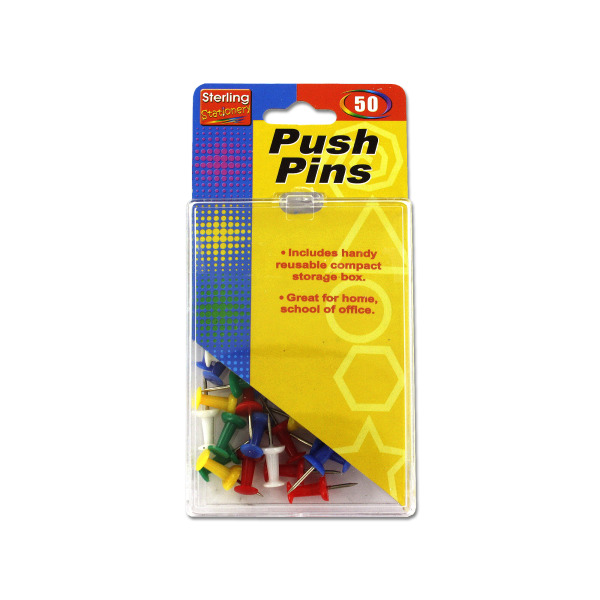 Colored push pin set   sterling