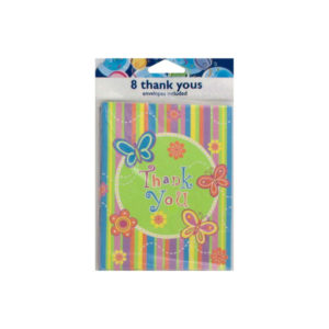 Colorful butterfly stripe Thank You notes, set of 8 | bulk buys