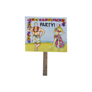 beach party double sided photo yard sign | bulk buys