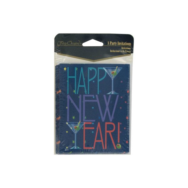 Happy New Year invitations, pack of 8 | bulk buys