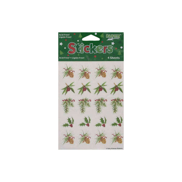Holly and pine stickers, pack of 4 sheets | bulk buys