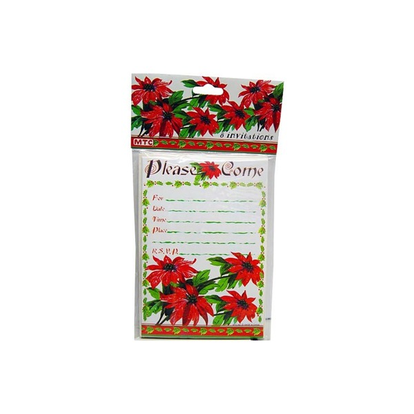 poinsettia 8 pack invitations/envelopes | bulk buys