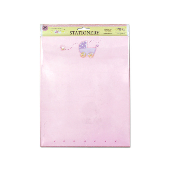 Pink baby stationery with baby carriage, pack of 25 sheets | bulk buys