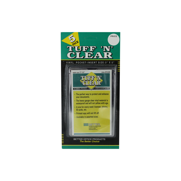 Tuff n Clear 3 x 5 vinyl pocket | bulk buys